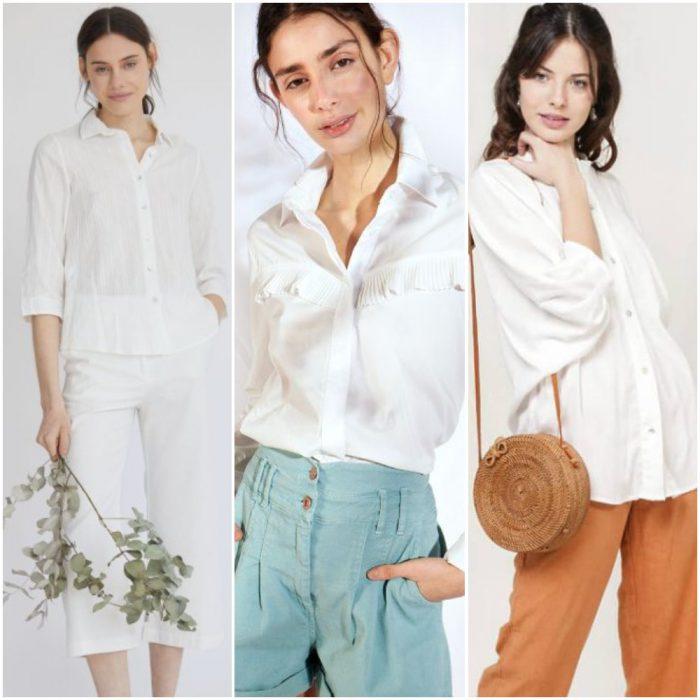 Looks modernos con camisa blanca para mujer verano 2021
