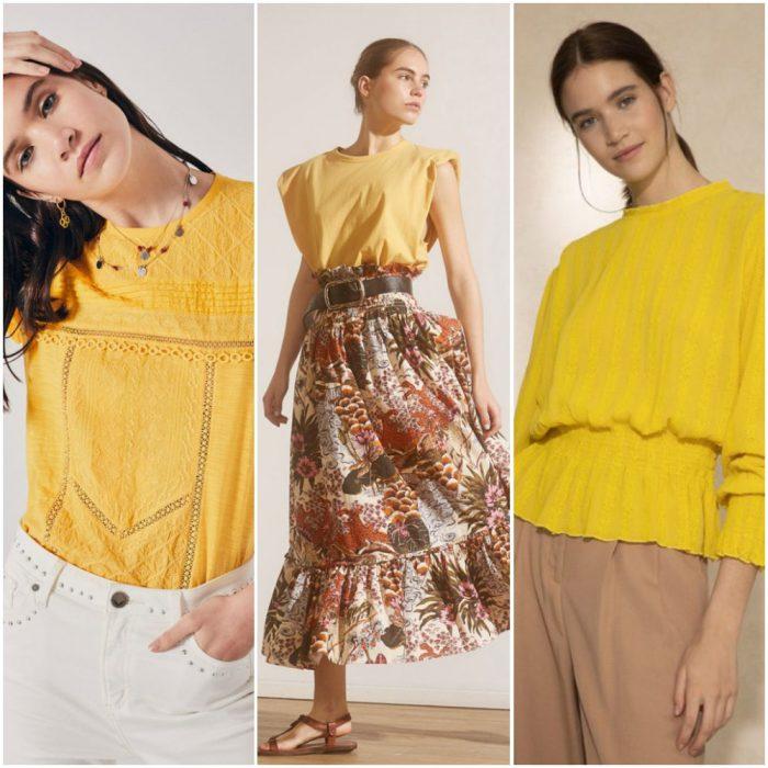 como combinar remeras y blusas amarillas 2021