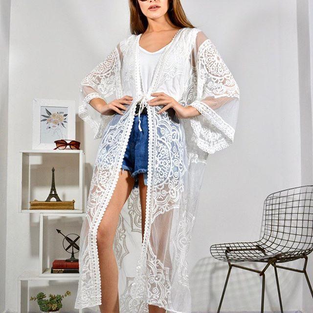 kimono largo vestido casual bordado en hilo arizona verano 2021