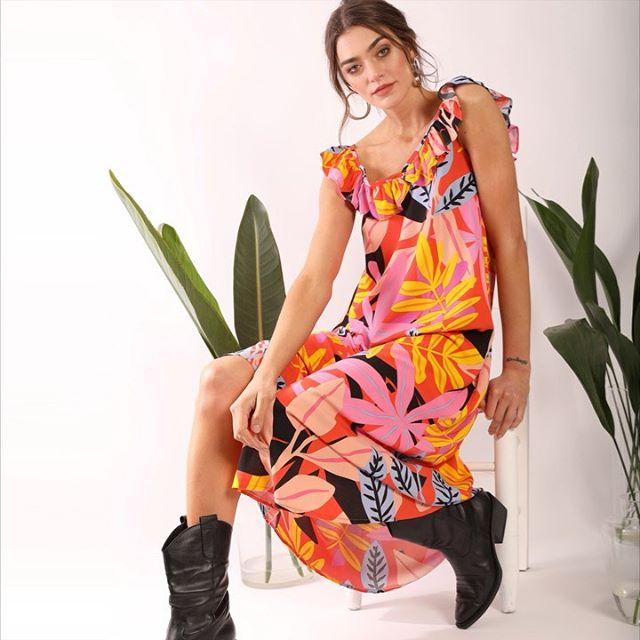 vestido largo fibrana Cenizas Coleccion verano 2021