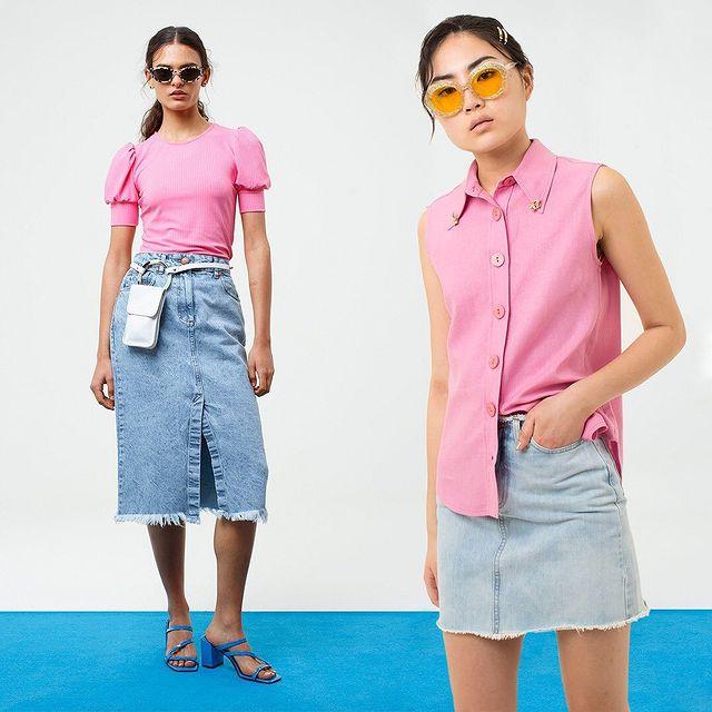 remera y camisa rosa con denim Las pepas verano 2021