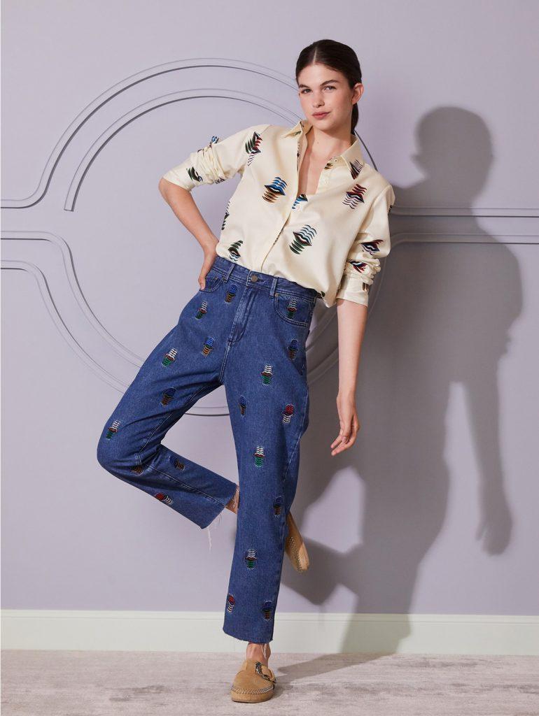 jeans bordado Jazmin Chebar invierno 2021