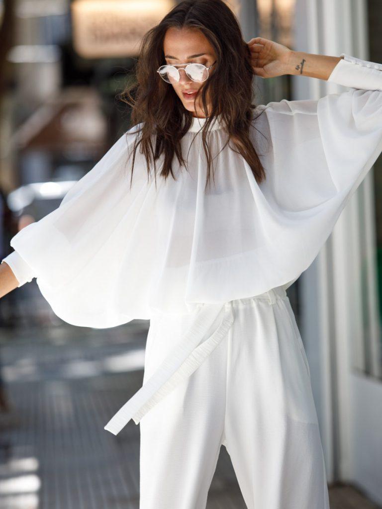 brasco invierno 2021 blusa de gasa y pantaon plisado