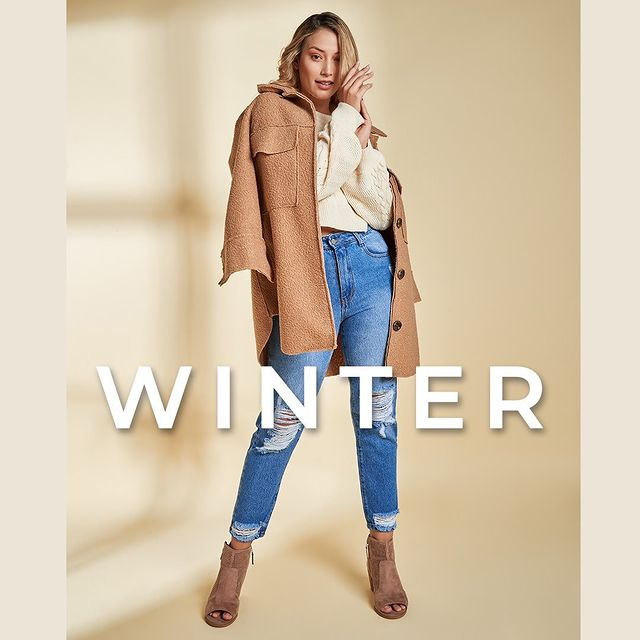 jeans roto con saco de lana vertu jeans invierno 2021
