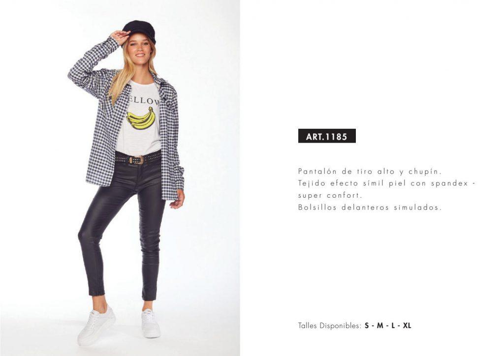 pantalon engomado y camisa a cuadros mujer utzzia invierno 2021