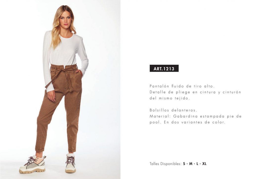 pantalon plisado tiro alto a cuadros utzzia invierno 2021