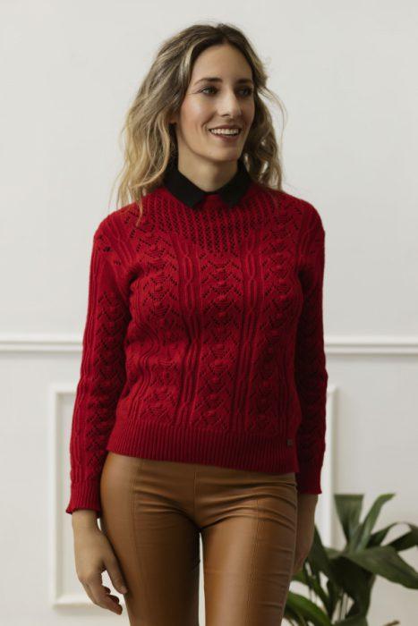 sweater calado tejido Eva Miller invierno 2021