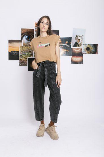 jeans negro suelto juvenil invierno 2021 Kimeika