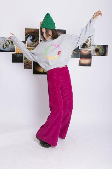 pantalo ancho purpura juvenil invierno 2021 Kimeika