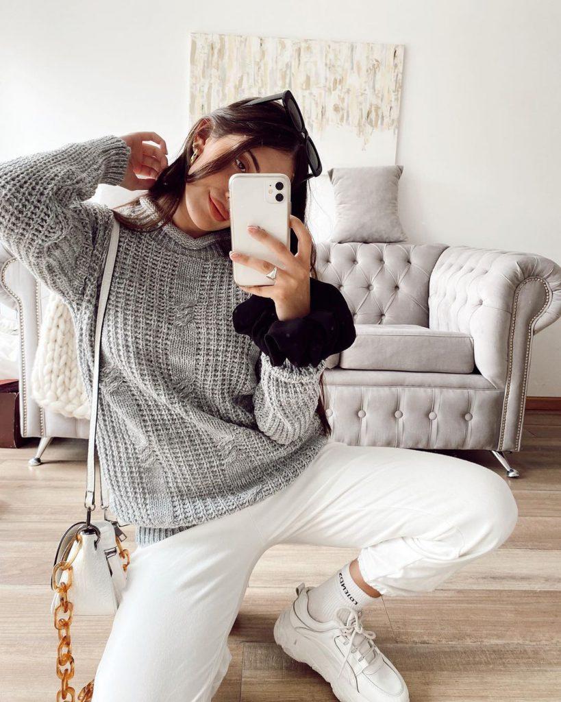 sweater gris tejido invierno 2021 Proximo