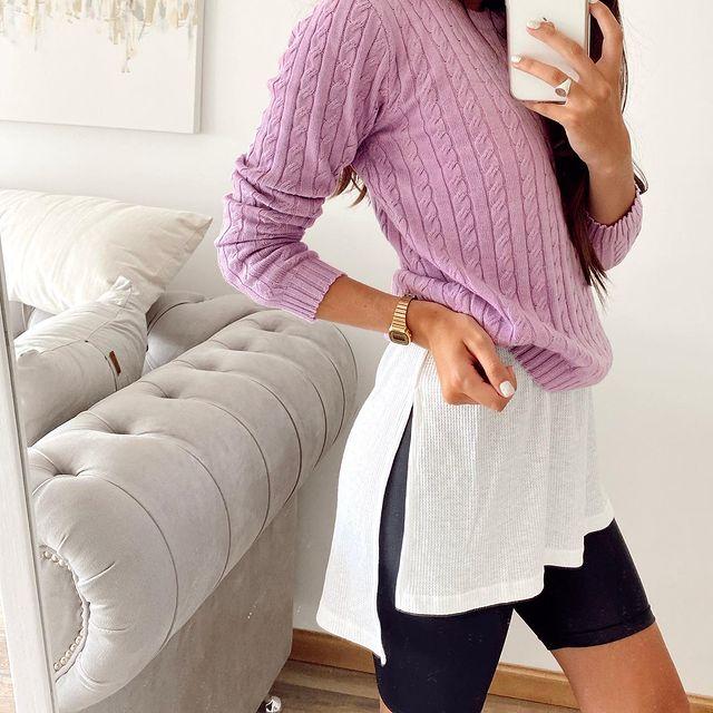 sweater lila tejido invierno 2021 Proximo