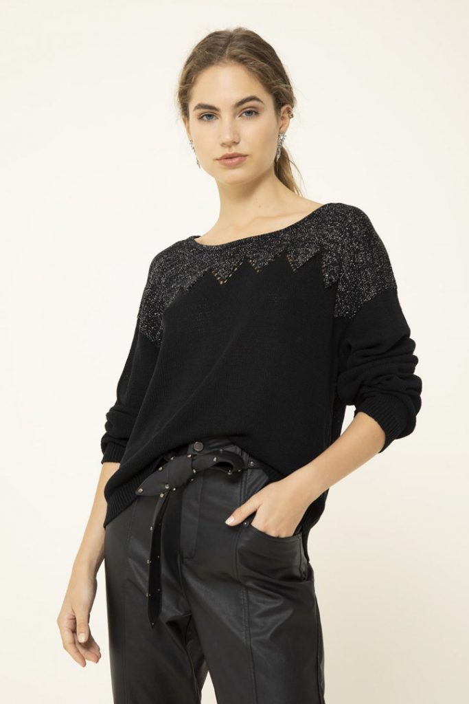uma verano 2022 sweater liviano bordado negro
