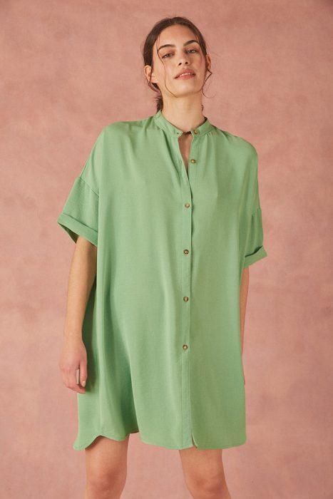 Vestido camisero verde menta verano 2022 Bled