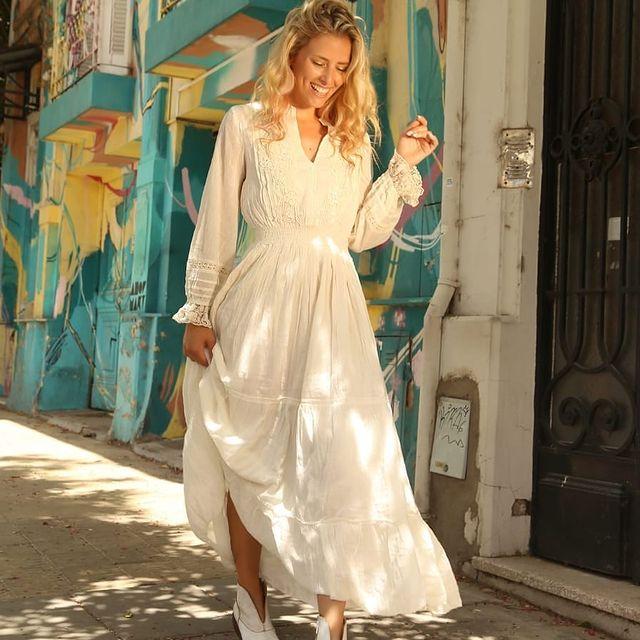 Vestido casual blanco mangas largas verano 2022 Vars