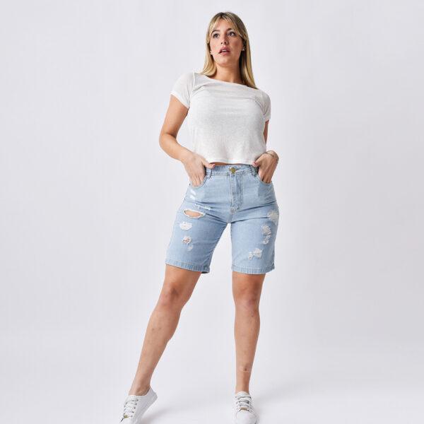 bermuda de jeans para mujer con roturas verano 2022 Jeans Ecole