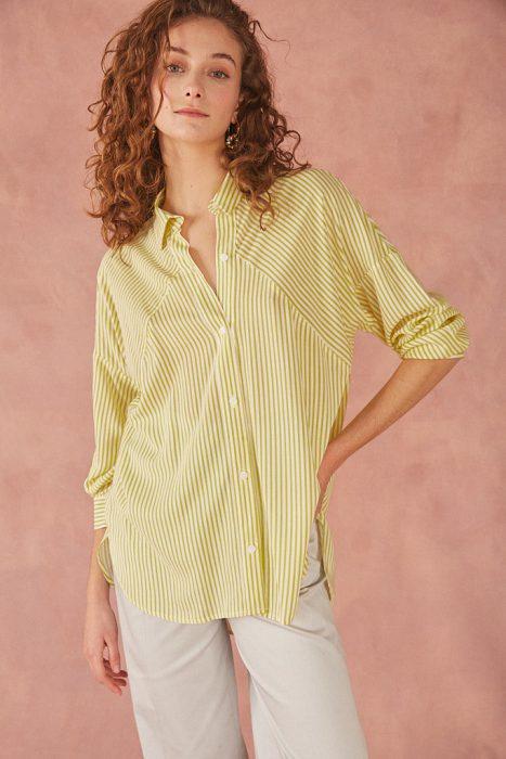 camisa a rayas amarillas para mujer verano 2022 Bled