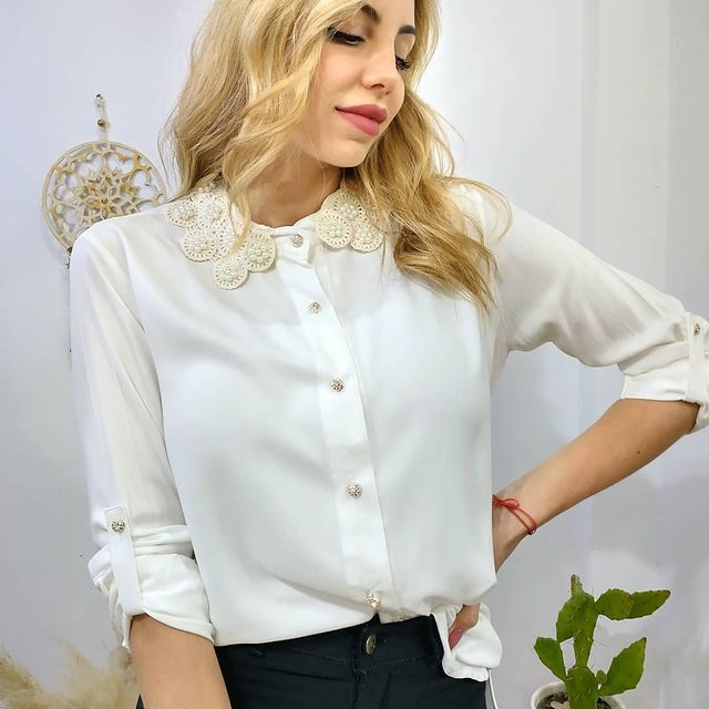 camisa cuello perlas verano 2022 ORIX