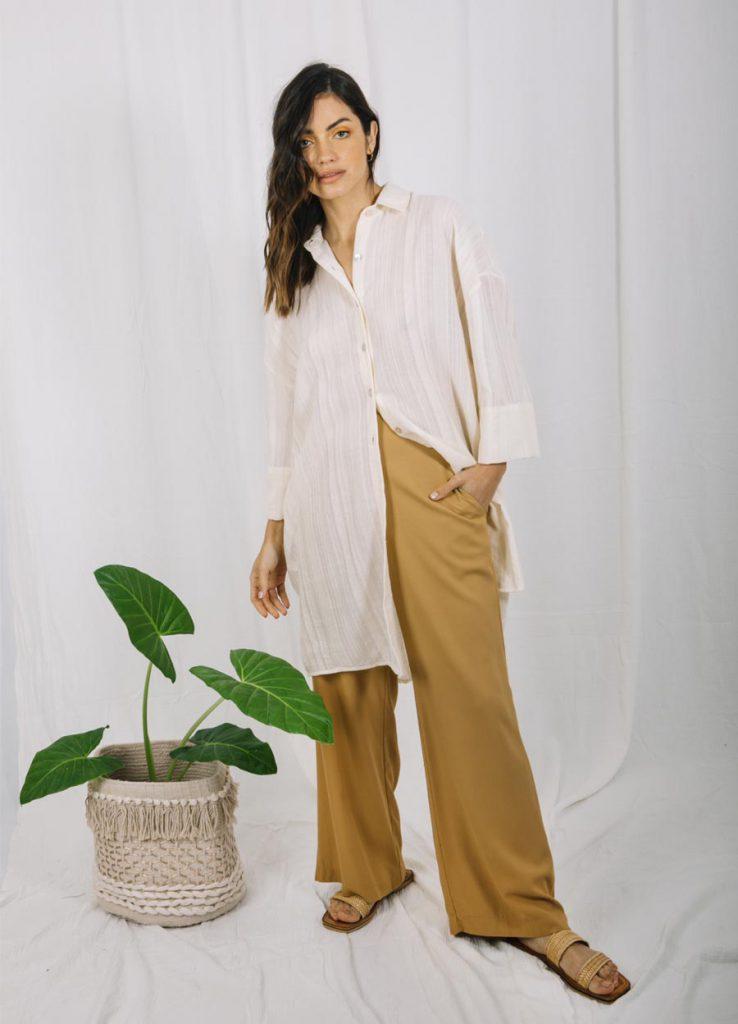 camisa larga y pantalon palazzo verano 2022 Baloop