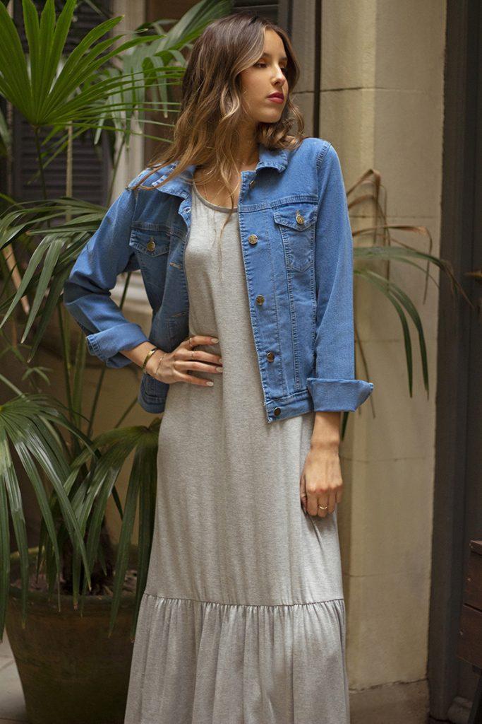 campera denim y vestido casual algodon verano 2022 Nucleo Moda