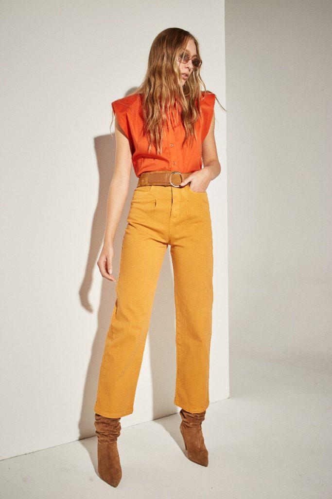 jeans naranja verano 2022 DELUCCA