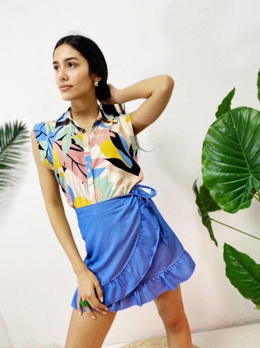 minifalda pareo corta mujer verano 2022 Tramps