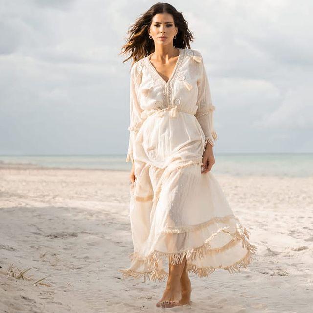 vestido bohemio largo blanco verano 2022 Vars