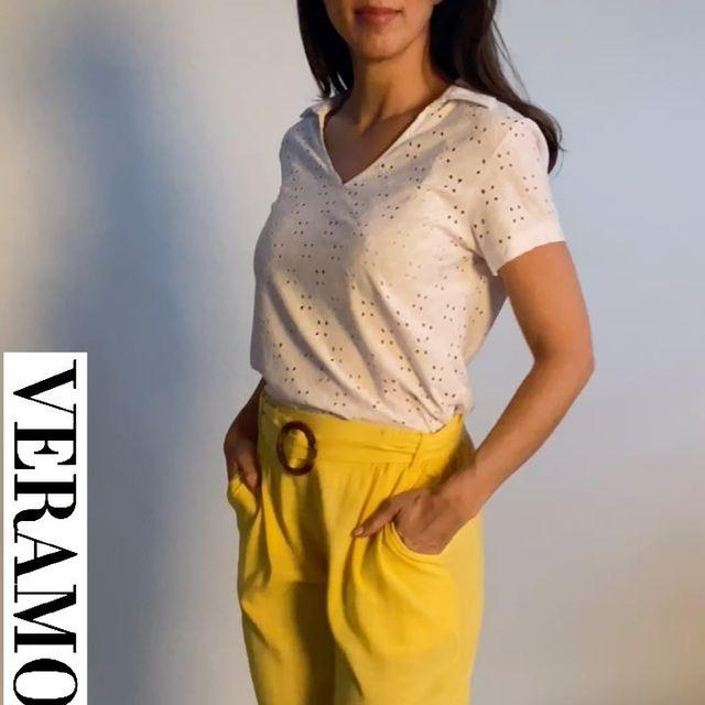 blusa con pantalon amarillo talles grandes verano 2022 Veramo