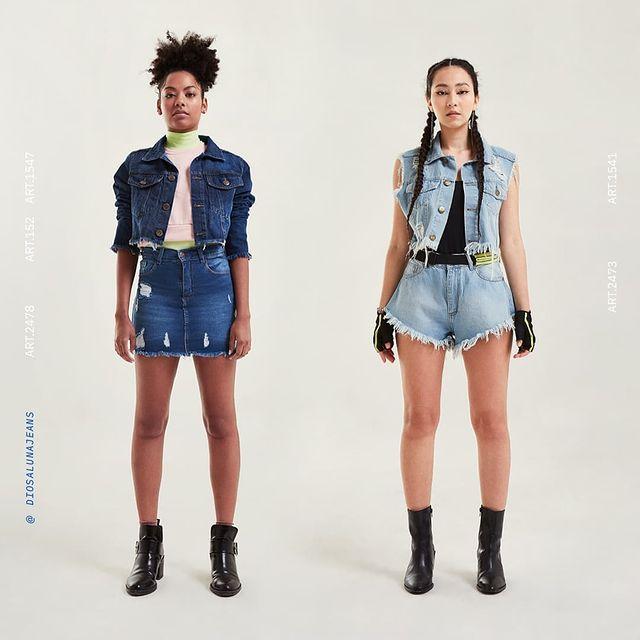 minifalda y campera top Diosa luna jeans verano 2022