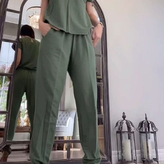 pantalon lino verde militar talles grandes verano 2022 Veramo