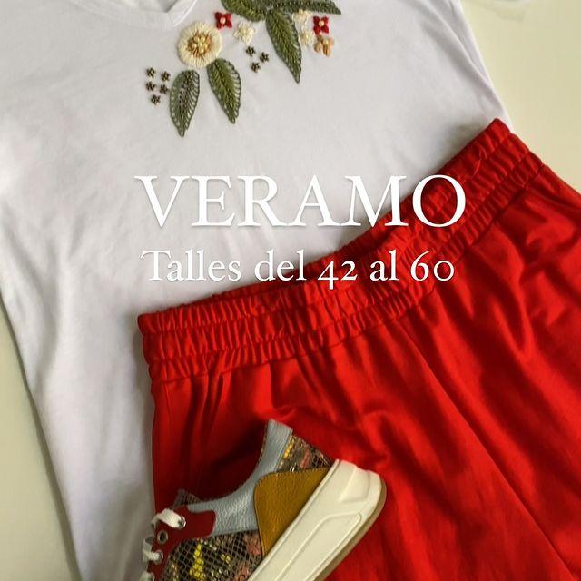 remera bordada y pantalon rojo talles grandes verano 2022 Veramo