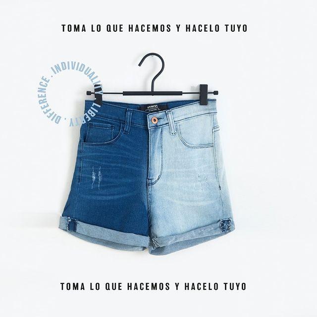 short jeans bicolor verano 2022 Striven