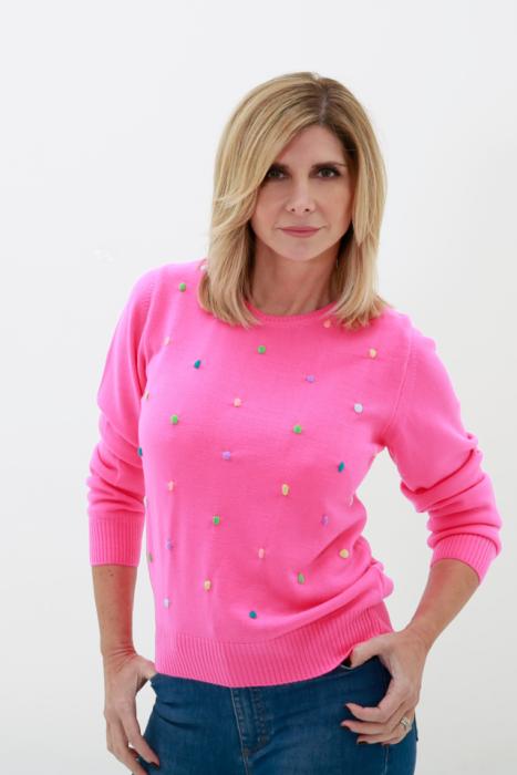 sweater con pompones bordados tejido vanlon verano 2022