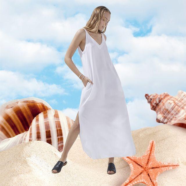 vestido runica blanca casual verano 2022 System