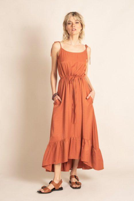 vestido lino largo sarawak verano 2021